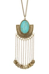 Stephan And Co Stone And Fringe Pendant Necklace Blue