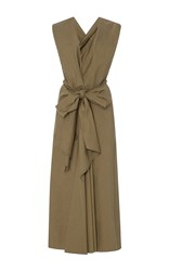 Tome Deep V Neck Draped Bow Front Dress Khaki