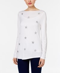 Inc International Concepts Embellished Boat Neck Top Only At Macy's Bright White