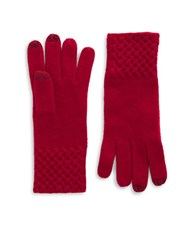 Lord And Taylor Knit Cuff Cashmere Gloves Ruby Red