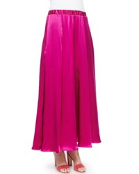 Neiman Marcus Silk Pull On Maxi Skirt Fuchsia Fuchsia Pop