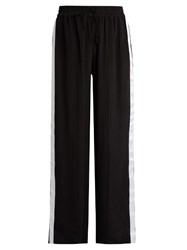 Serena Bute Wide Leg Crepe De Chine Drawstring Trousers Black White