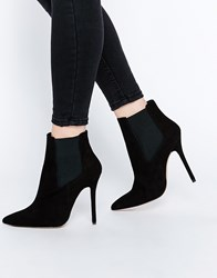 New Look Premium Suede Heeled Boot With Pointed Toe Black