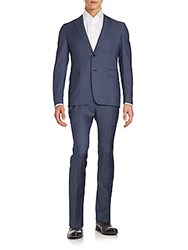 Valentino Wool Jacket And Pants Suit Blue
