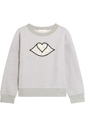 See By Chloe Appliqued Cotton Jersey Sweatshirt Light Gray