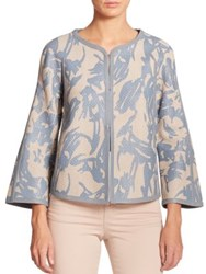 Armani Collezioni Floral Leather Jacket Taupe Blue