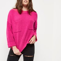 River Island Womens Petite Pink Patch Pocket Grazer Top