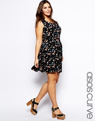 Asos Curve Exclusive Skater Skirt In Floral Print Multi