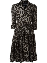 Samantha Sung Animal Print Shirt Dress Black