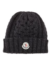 Cable Knit Cashmere Logo Beanie Hat Gray Gray Moncler