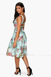 Boohoo Strappy Back Floral Midi Skater Dress Multi