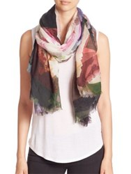 Franco Ferrari Evans Wash Floral Wool And Cashmere Scarf Pink Multi