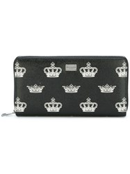 Dolce And Gabbana Crown Print Continental Wallet Black