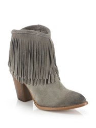 Frye Ilana Fringed Suede Booties Sand Dark Grey