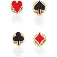 River Island Mens Red Card Suits Badge Set