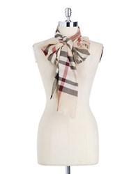 Lord And Taylor Metallic Plaid Scarf Camel