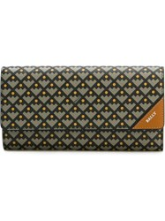 Bally Geometric Pattern Flap Wallet Grey