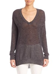 Atm Anthony Thomas Melillo Open Gauge Deep V Neck Sweater Cement Grout