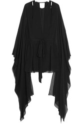 Emilio Pucci Cutout Draped Silk Chiffon Playsuit Black