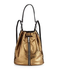 Elizabeth And James Cynnie Embossed Leather Drawstring Backpack Bronze