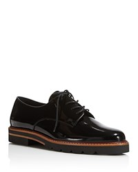 Stuart Weitzman Metro Platform Lace Up Oxfords Jet Mirror Black