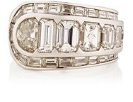 Mahnaz Collection Vintage Women's White Diamond And Platinum Ring Colorl Colorless