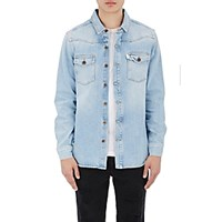 Off White C O Virgil Abloh Men's Striped Back Denim Shirt Blue