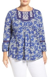 Lucky Brand Plus Size Women's Embroidered Yoke Floral Print Top Blue Multi