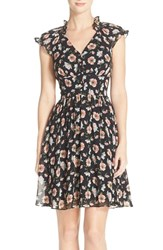 Women's Betsey Johnson Floral Chiffon Fit And Flare Dress