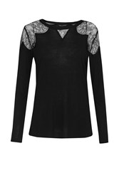 French Connection Juliette Lace Long Sleeve Top Black