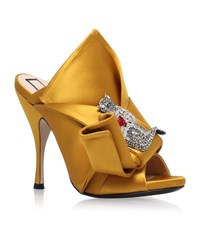 N 21 No. 21 Satin Bow Cat Mules Female Mustard
