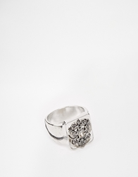 Asos Pinky Ring With Shield Silver