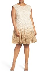 Chetta B Plus Size Women's Ombre Shimmer Lace Fit And Flare Dress Gold