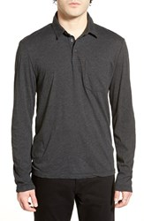 Men's James Perse Long Sleeve Melange Jersey Polo Charcoal