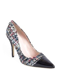 Kate Spade Lacy Tweed And Leather Cap Toe Pumps Black Multi