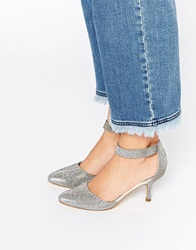 Oasis Glitter Heeled Court Shoes With Ankle Strap Silver