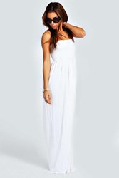 Boohoo Shirred Bandeau Maxi Dress White