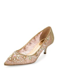 Rene Caovilla Crystal Embellished Lace Low Heel Pump Golden Multi Gold Multi