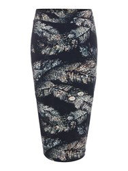 Label Lab Feather Print Jersey Skirt Black