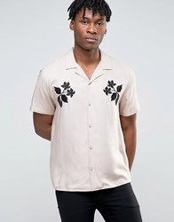 Asos Viscose Shirt With Embroidered Floral Design And Revere Collar In Regular Fit Pink Navy