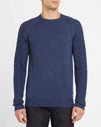 Wrangler Navy Cable Knit Round Neck Sweater Blue