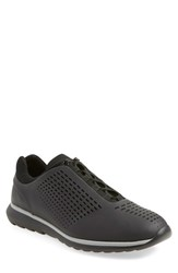 Ermenegildo Zegna Men's 'Runner' Sneaker Black Rubberized Leather