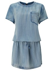 Maison Scotch Drop Waist Denim Dress Indigo