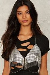 Free To Metal Chain Mail Bra Top Silver