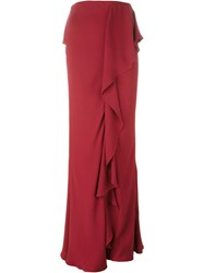 Alexander Mcqueen Ruffled Maxi Skirt Red