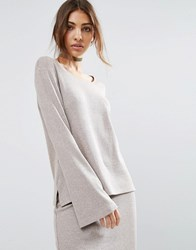 Asos Lounge Ribbed Long Sleeve Flared Tunic Mink Beige