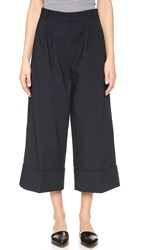 Tibi Cropped Pleat Pants Navy