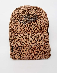Vans Realm Backpack In Animal Print Brown