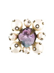 Chanel Vintage Crystal Pearl Brooch White