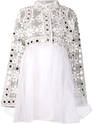 Ktz Mirror And Terry Cloth Embellished Dress White